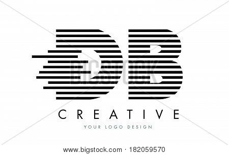 Db D B Zebra Letter Logo Design With Black And White Stripes