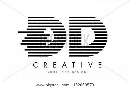 Dd D D Zebra Letter Logo Design With Black And White Stripes
