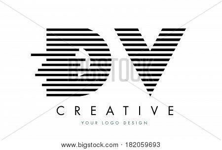 Dv D V Zebra Letter Logo Design With Black And White Stripes