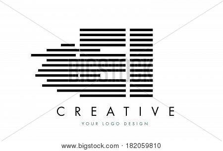 Ei E I Zebra Letter Logo Design With Black And White Stripes
