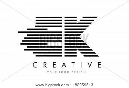 Ek E K Zebra Letter Logo Design With Black And White Stripes
