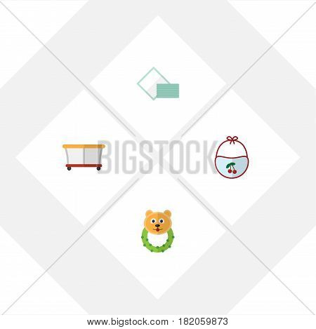 Flat Baby Set Of Rattle, Playground, Pinafore And Other Vector Objects. Also Includes Bear, Baby, Rattle Elements.