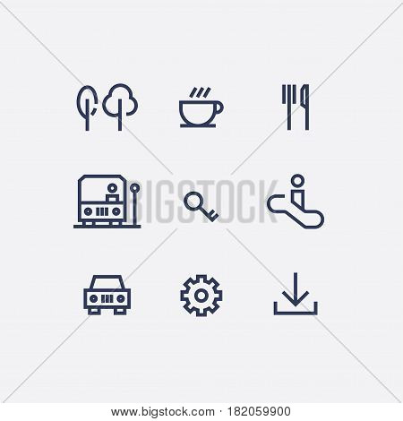 A collection of abstract wayfinding pictograms flat design style vector icons