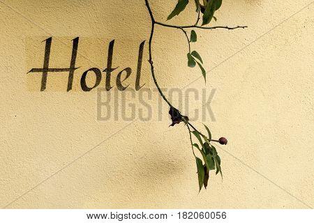 inscription on a hotel