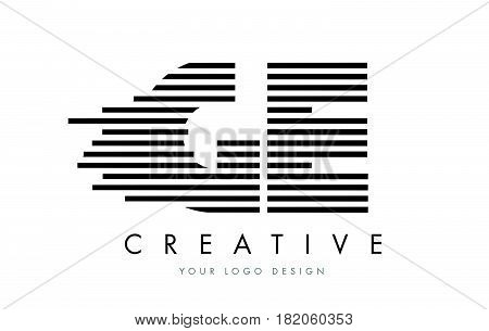 Ge G E Zebra Letter Logo Design With Black And White Stripes