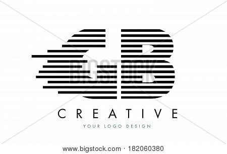 Gb G B Zebra Letter Logo Design With Black And White Stripes