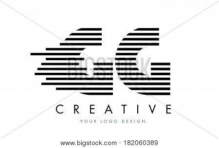 Gg G G Zebra Letter Logo Design With Black And White Stripes