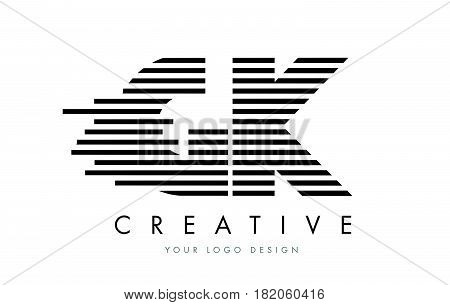 Gk G K Zebra Letter Logo Design With Black And White Stripes