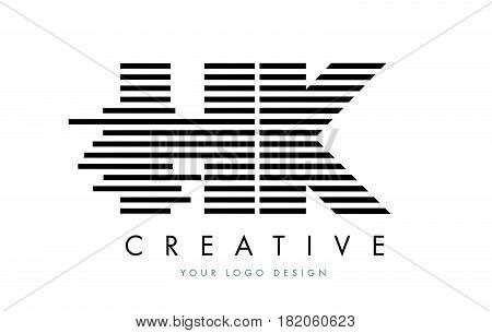Hk H K Zebra Letter Logo Design With Black And White Stripes
