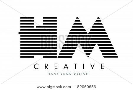 Hm H M Zebra Letter Logo Design With Black And White Stripes
