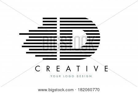 Id I D Zebra Letter Logo Design With Black And White Stripes