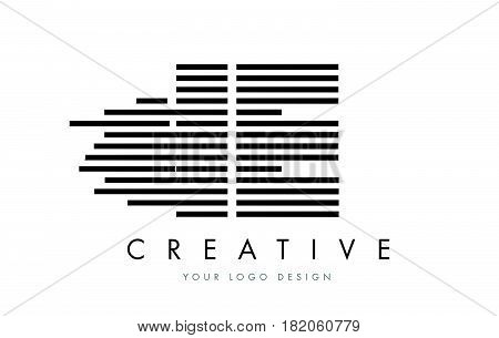 Ie I E Zebra Letter Logo Design With Black And White Stripes