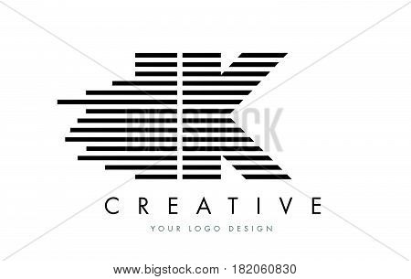 Ik I K Zebra Letter Logo Design With Black And White Stripes