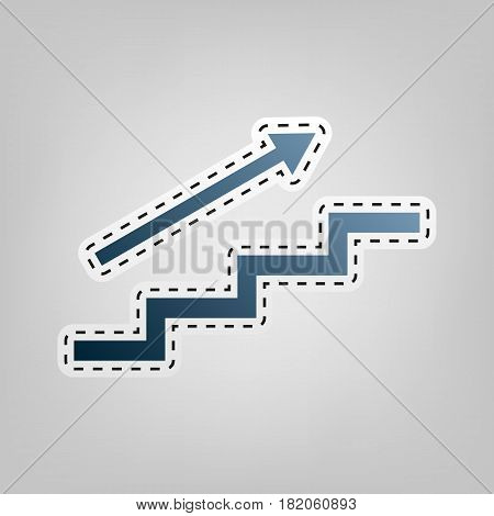 Stair with arrow. Vector. Blue icon with outline for cutting out at gray background.