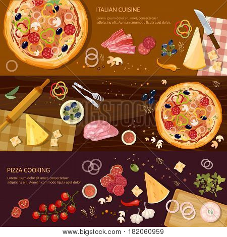 Making pizza fresh ingredients for pizza vector. Pizza on wooden table top view banner