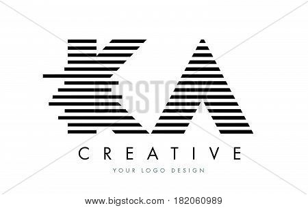 Ka K A Zebra Letter Logo Design With Black And White Stripes