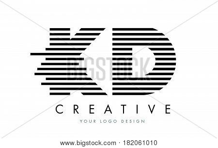 Kd K D Zebra Letter Logo Design With Black And White Stripes