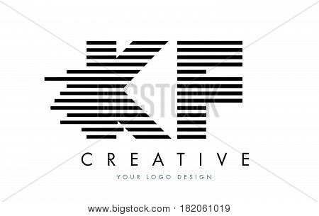 Kf K F Zebra Letter Logo Design With Black And White Stripes