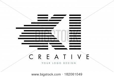 Ki K I Zebra Letter Logo Design With Black And White Stripes