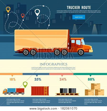 Cargo delivery infographic cargo service. Trucking industry banner trucker route. Logistics and the city. Shipping warehouse elements vector