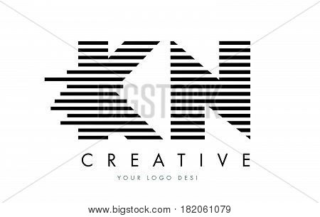 Km K M Zebra Letter Logo Design With Black And White Stripes