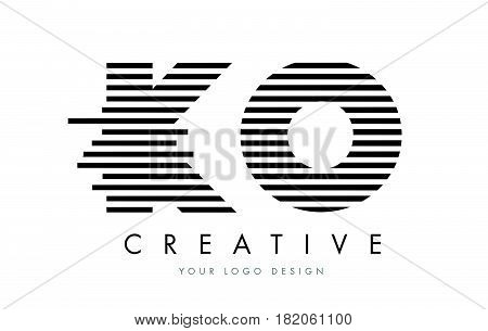 Ko K O Zebra Letter Logo Design With Black And White Stripes