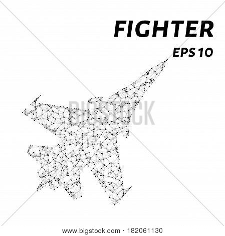 Fighter Consists Of Points, Lines And Triangles. The Polygon Shape In The Form Of A Silhouette Of A