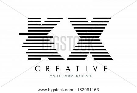 Kx K X Zebra Letter Logo Design With Black And White Stripes