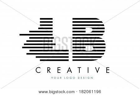 Lb L B Zebra Letter Logo Design With Black And White Stripes