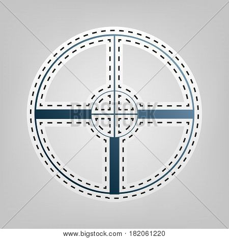 Sight sign illustration. Vector. Blue icon with outline for cutting out at gray background.