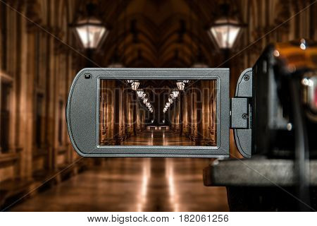 LCD display screen on a High Definition TV camera, movie architectural perspective