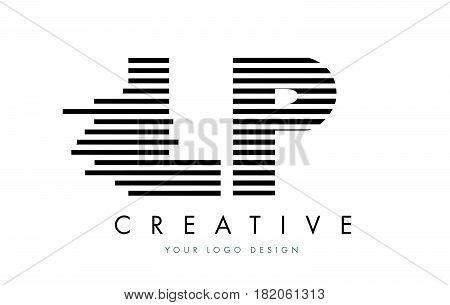Lp L P Zebra Letter Logo Design With Black And White Stripes