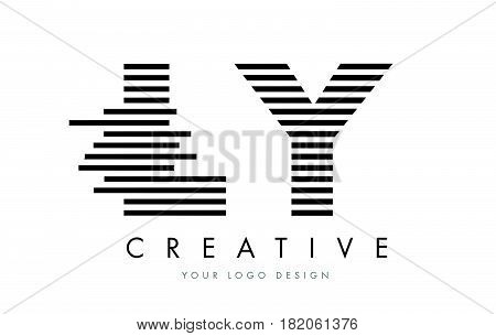 Ly L Y Zebra Letter Logo Design With Black And White Stripes
