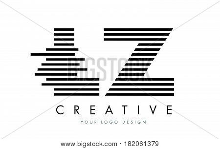 Lz L Z Zebra Letter Logo Design With Black And White Stripes