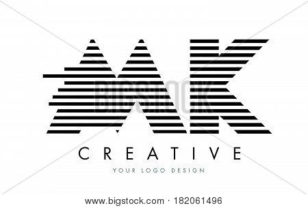 Mk M K Zebra Letter Logo Design With Black And White Stripes