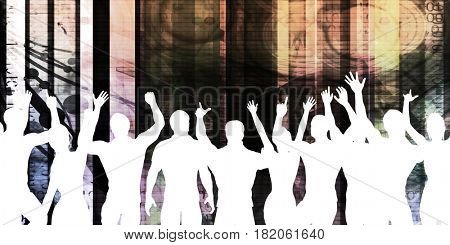 Music Festival Crowd Silhouette Cheering as Concept 3D Illustration Render