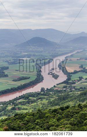 Taquari River From Morro Do Gaucho Mountain Landscape