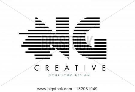 Ng N G Zebra Letter Logo Design With Black And White Stripes