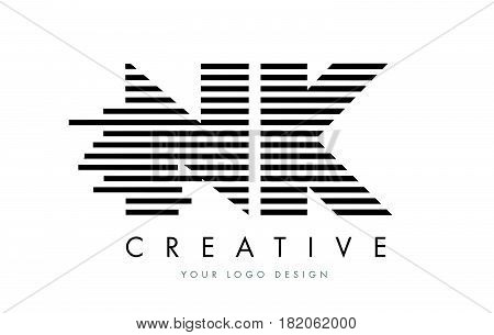 Nk N K Zebra Letter Logo Design With Black And White Stripes