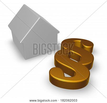 paragraph symbol and house model - 3d rendering