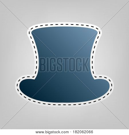 Top hat sign. Vector. Blue icon with outline for cutting out at gray background.