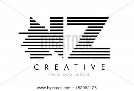 Nz N Z Zebra Letter Logo Design With Black And White Stripes