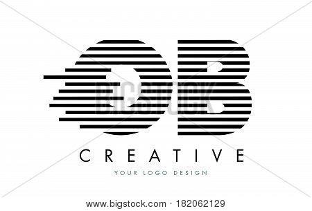 Ob O B Zebra Letter Logo Design With Black And White Stripes