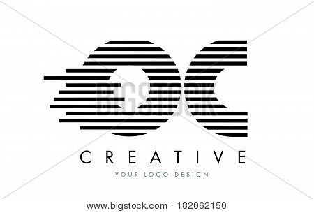 Oc O C Zebra Letter Logo Design With Black And White Stripes