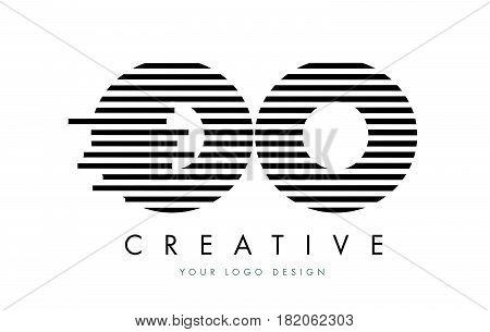 Oo O Zebra Letter Logo Design With Black And White Stripes