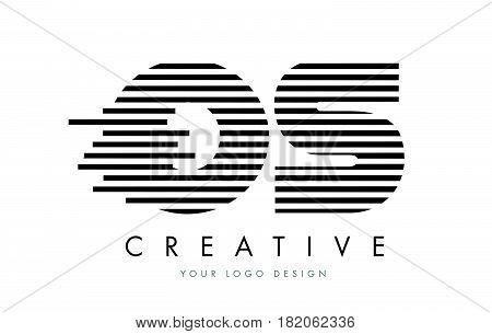 Os O S Zebra Letter Logo Design With Black And White Stripes