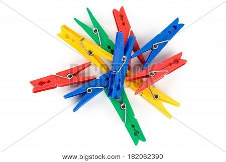 Photo of Colour clothes-peg on the white background