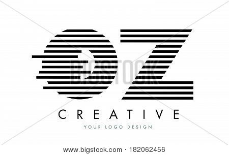 Oz O Z Zebra Letter Logo Design With Black And White Stripes