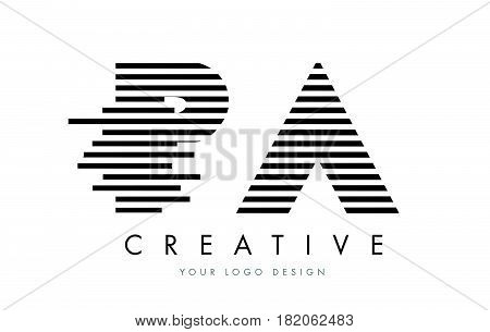 Pa P A Zebra Letter Logo Design With Black And White Stripes