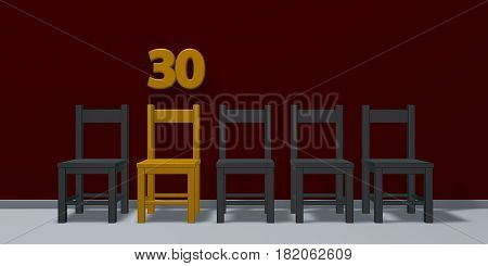 number thirty and row of chairs - 3d rendering